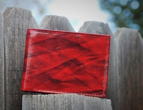A Dark Red with Black Brush Strokes Bi-fold