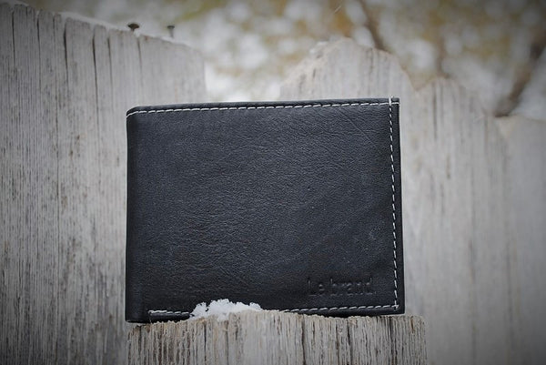 Genuine Black Leather Bi-Fold Wallet