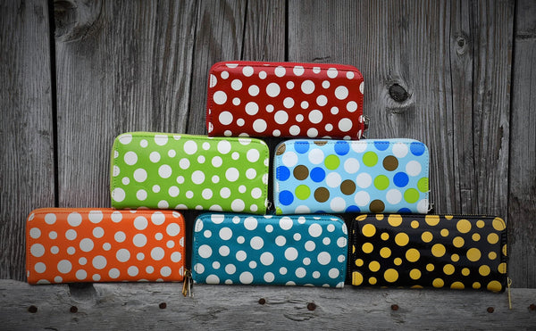 Single Zip Polka Dot Wallet