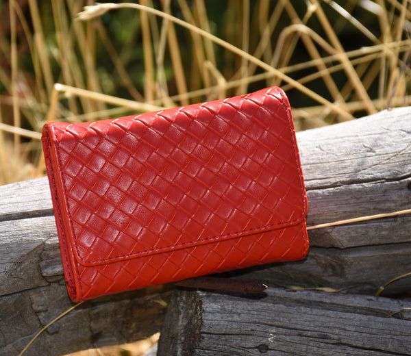 Full Weave all Salmon/Red Wallet