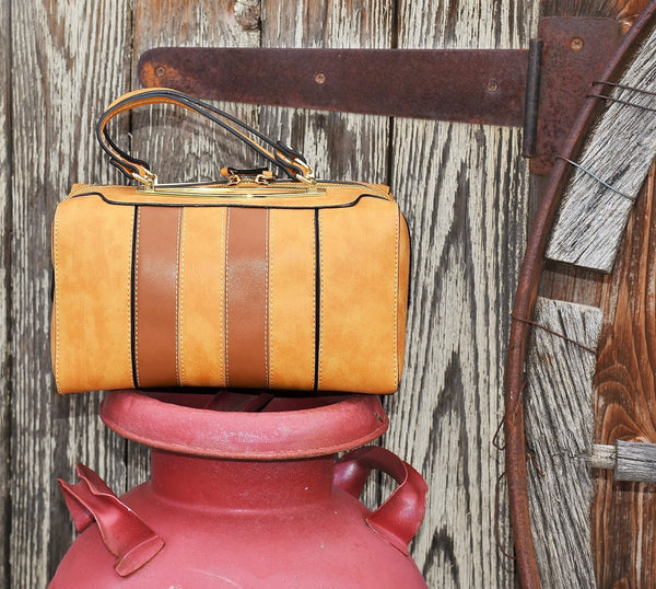 Tan with Brown Stripe Boxy Bag