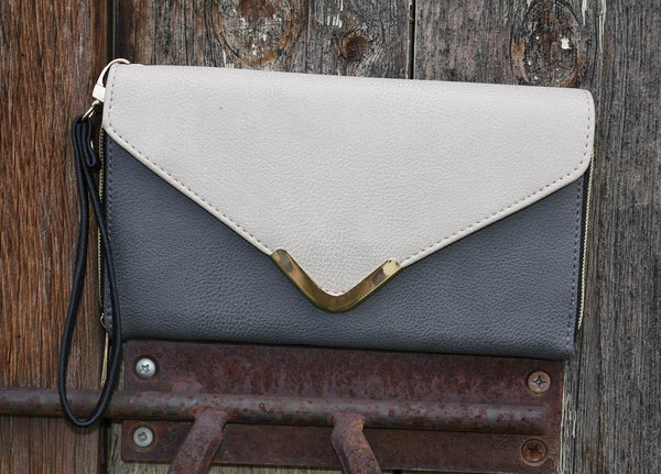 Grey and Taupe Clutch