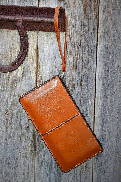 Brown Top Zip Wrist Wallet
