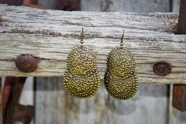 Bronze Double Circular Plated Earrings