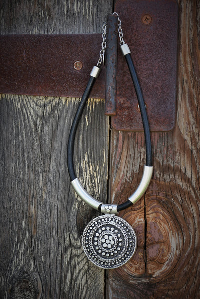 Dark Silver Circular Plated Necklace