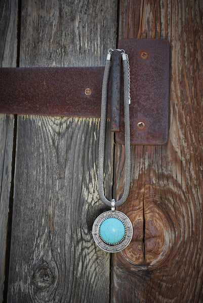 Turquoise Circular Silver Plated Necklace