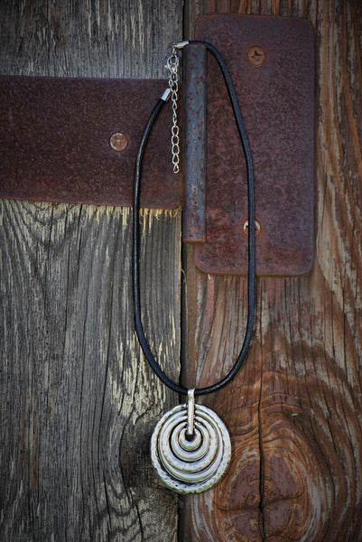 Silver Circular Pendant Necklace