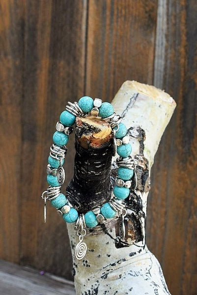 Turquoise w/Silver Charms Bracelet