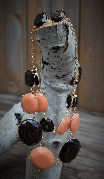 Peach & Dark Brown Jewel Stone Necklace
