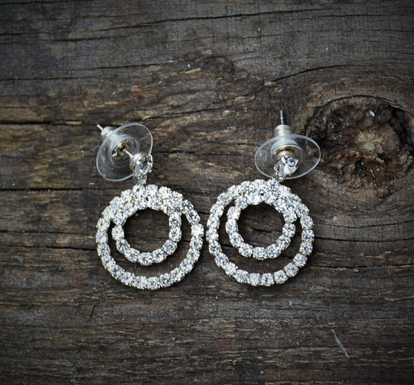Double Ring Diamond Earrings