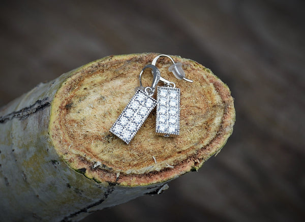 Rectangle Diamond Earrings