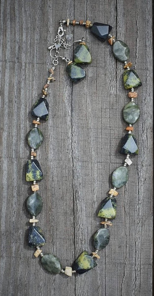 Green/Charcoal Rock Necklace/Earrings