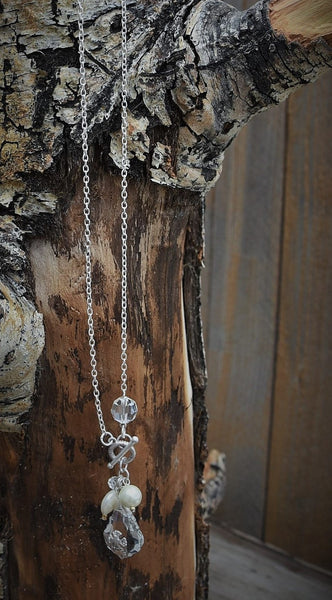 Crystals and Pearls Silver Chain Necklace