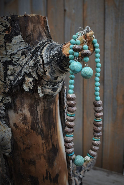 Chocolate & Turquoise Beaded Necklace/Earrings
