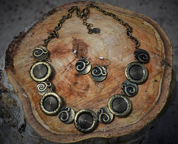 Bronze Circular Necklace/Earrings
