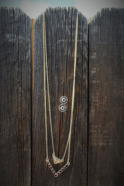 Double Gold Chain Black Accent Necklace