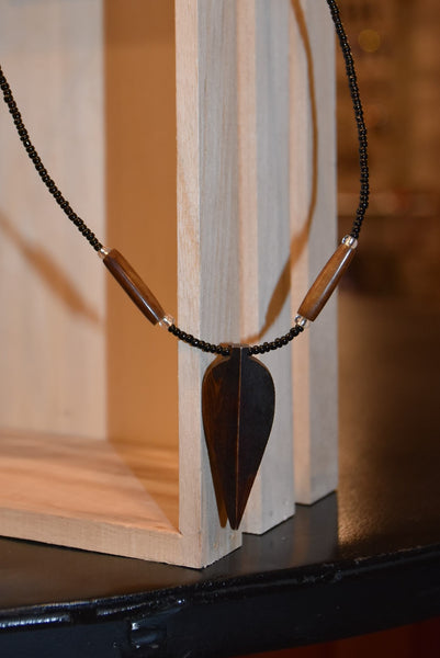 Brown with Black Bead Necklace