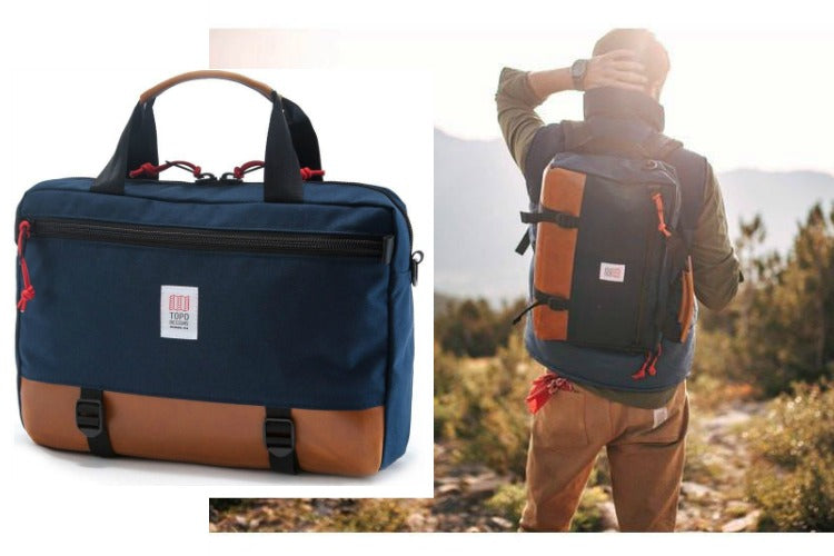 Topo Designs Commuter Briefcase Backpack in Navy/Leather