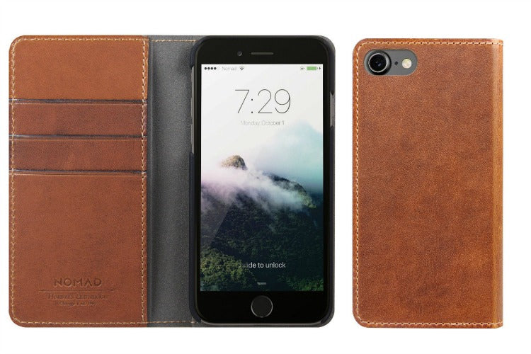 Nomad Folio Case for iPhone 7/8 in Horween Brown Leather