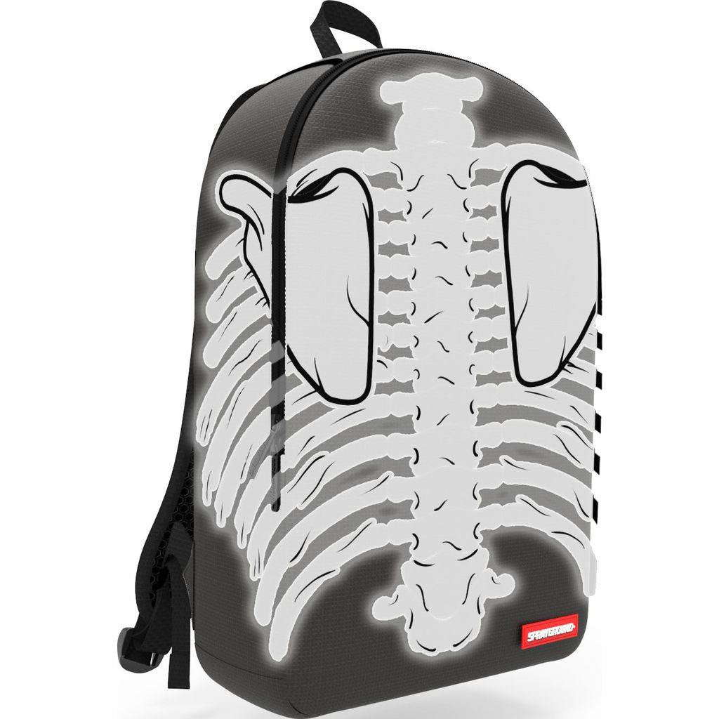 Sprayground Cut & Sew Reflective 3M Bones Backpack | Black/White B602