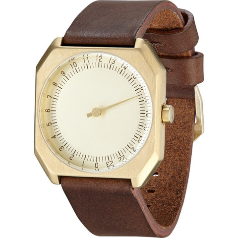 slow Jo 18 Gold Watch | Dark Brown Leather X000JADHDT