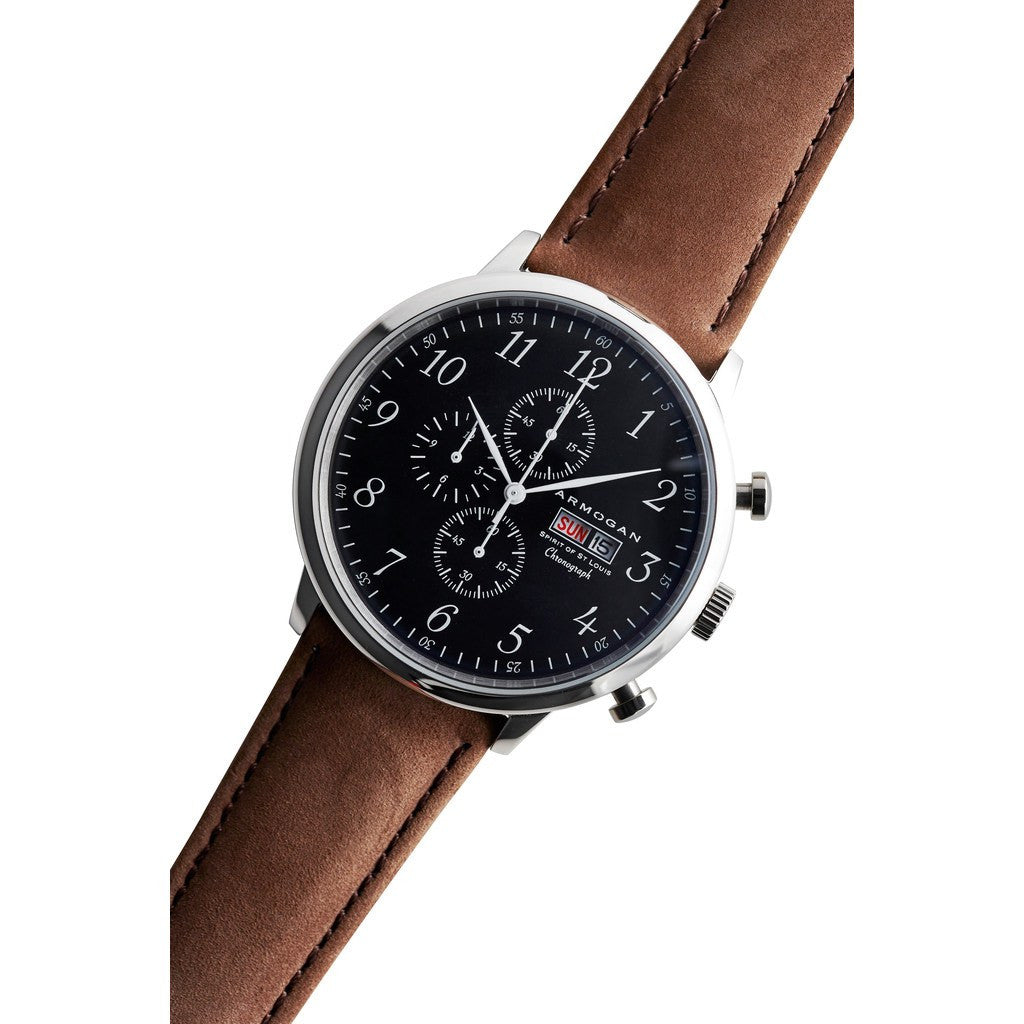 Armogan Spirit of St. Louis Chronograph Watch | Silver Black FGSOSL07SB