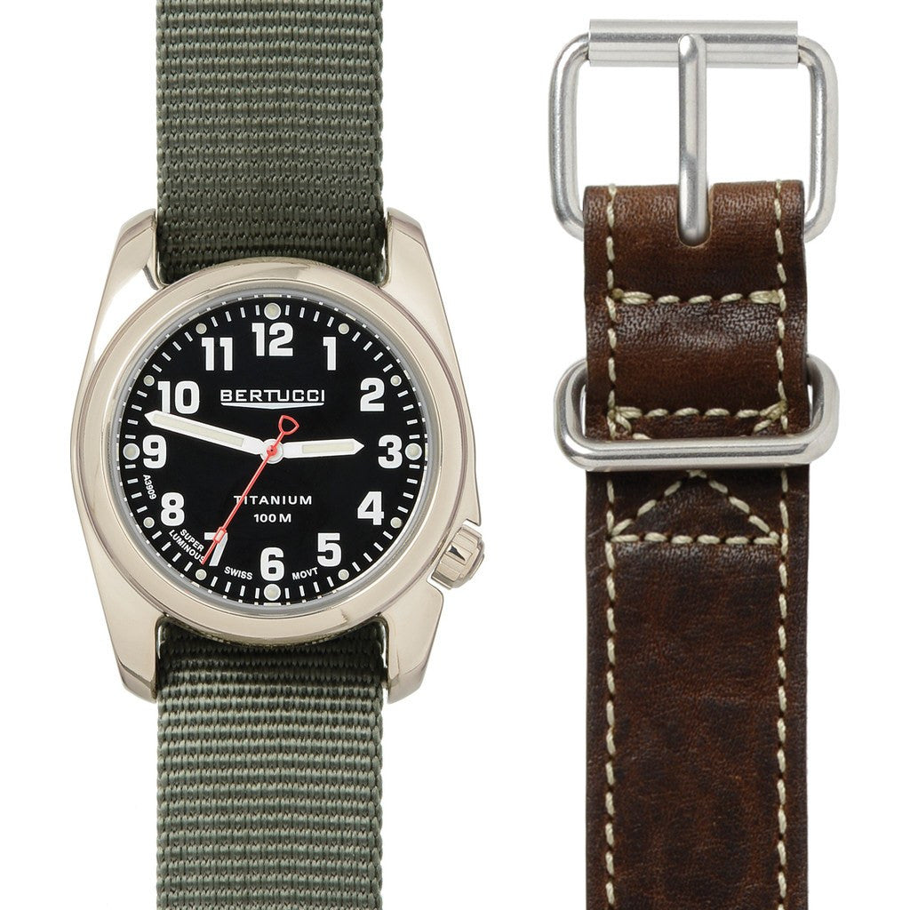 Bertucci A-2T Highpolish Boxed Set | Defender Drab Nylon + Horween Nut Brown Leather 02042