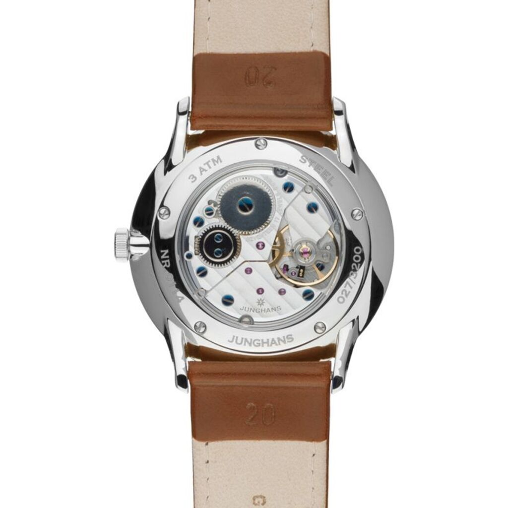 Junghans Meister Hand-Winding Matt Silver Watch | Brown Horse Leather Strap 027/3200.00