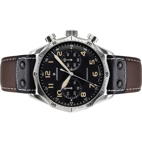 Junghans Meister Pilot Black Watch | Brown Riveted Leather Strap 027/3591.00