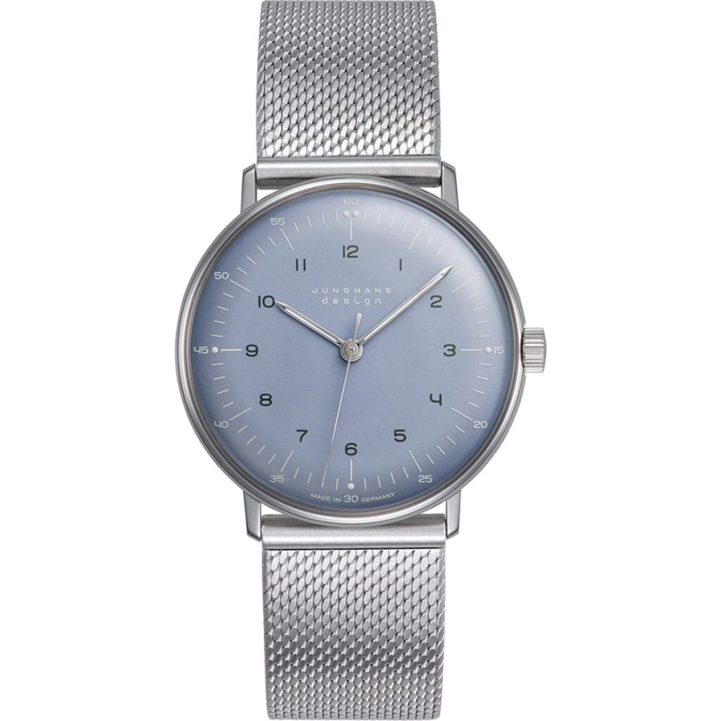 Junghans Max Bill Hand Winding Ice-Blue Watch | Milanaise Strap  027/3600.44