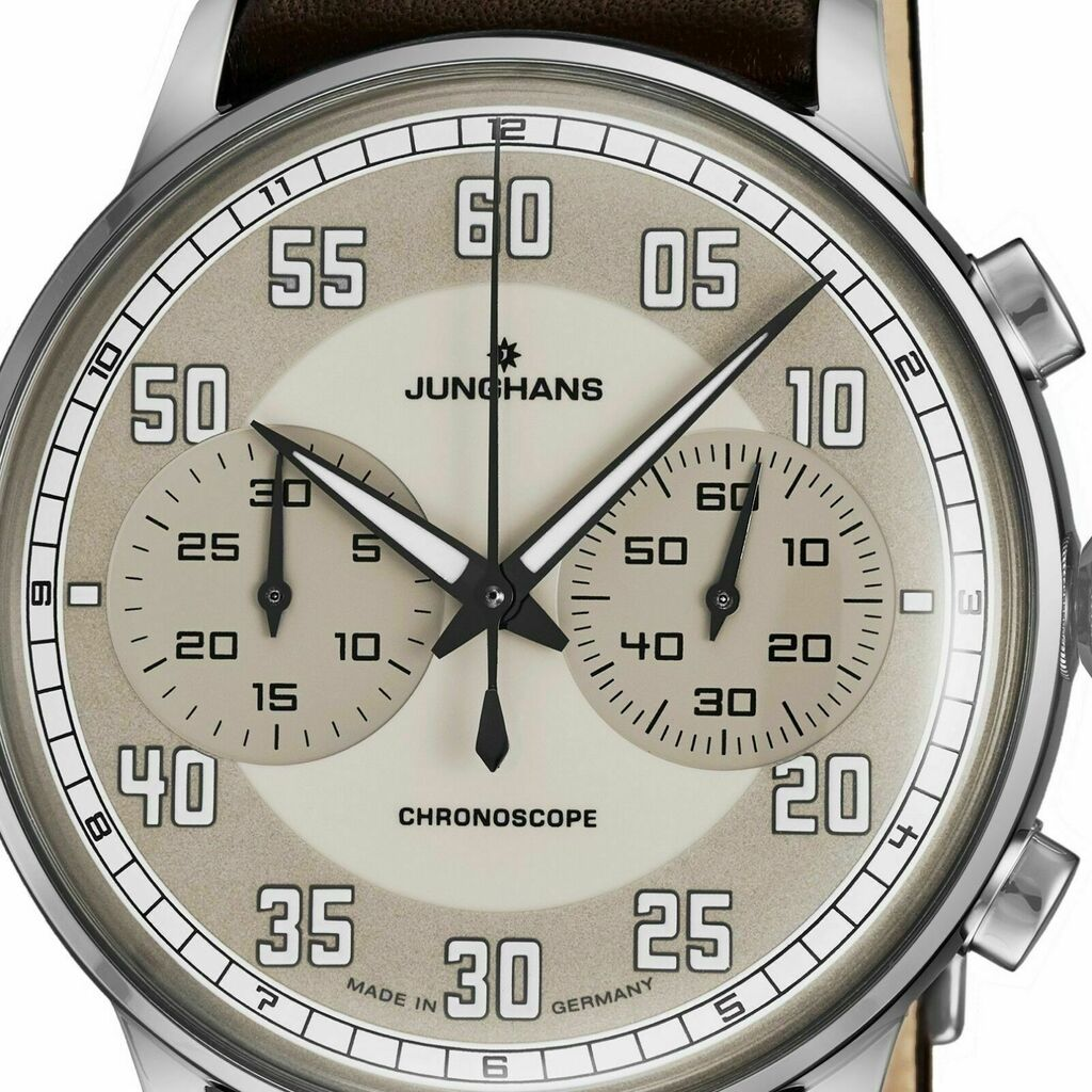 Junghans Meister Driver Chronoscope Watch | Brown Calf Leather Strap 027/3684.00