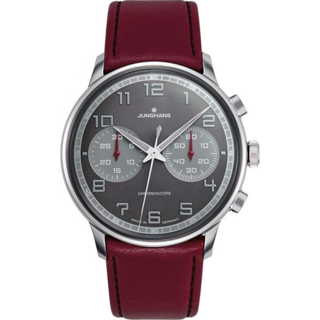 Junghans Meister Driver Chronoscope Watch | Burgundy Calf Leather Strap 027/3685.00