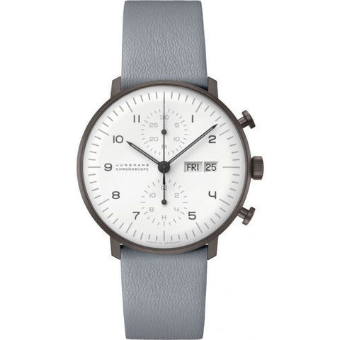 Junghans Max Bill Chronoscope Matt White Watch | Calf Leather Strap 027/4008.05