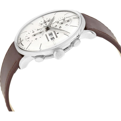 Junghans Meister Chronoscope Matt Siver Watch | Brown Horse Leather Strap 027/4120.01