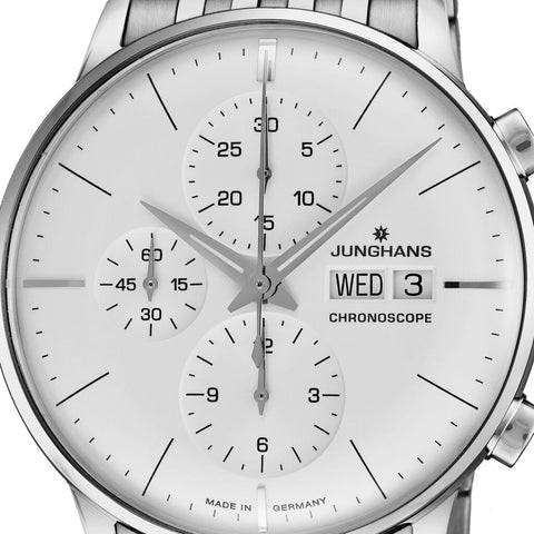 Junghans Meister Chronoscope Matt Siver Watch | Stainless Steel Bracelet 027/4121.45