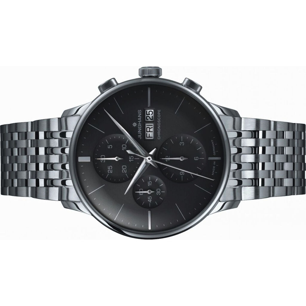 Junghans Meister Chronoscope Dark Grey Watch | Stainless Steel Bracelet 027/4324.45