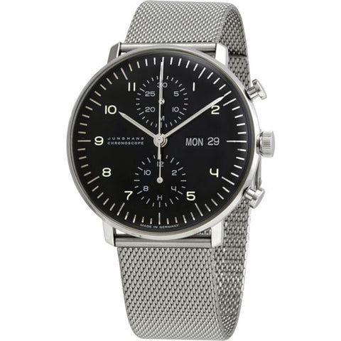 Junghans Max Bill Chronoscope Polished Black Watch | Milanaise Bracelet 027/4500.49