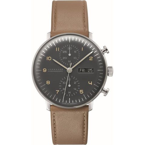 Junghans Max Bill Chronoscope Polished Anthracite-Grey Watch | Leather Strap 027/4501.05