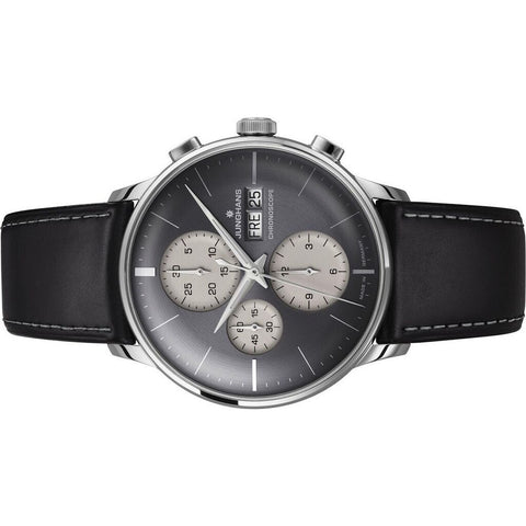 Junghans Meister Chronoscope Anthracite Grey Watch | Black Leather Strap 027/4525.01