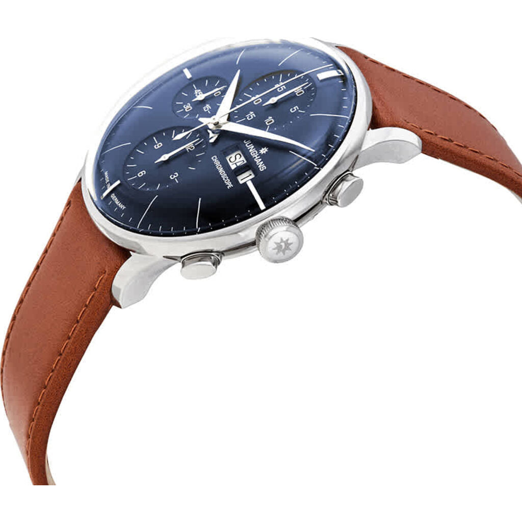 Junghans Meister Chronoscope Blue Watch | Brown Horse Leather Strap 027/4526.01