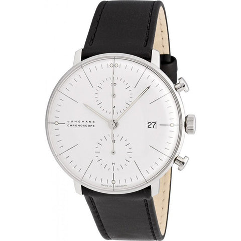 Junghans Max Bill Chronoscope Automatic Chrono Watch | Black Calfskin 027/4600.00