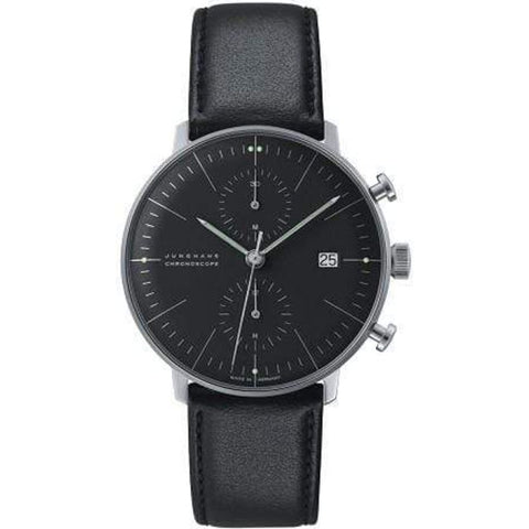 Junghans Max Bill Chronoscope Matt Black Watch | Leather Strap 027/4601.04