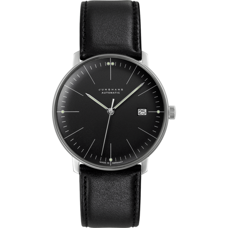 Junghans Max Bill Automatic Date Watch | Black/Black Calfskin 027/4701.00