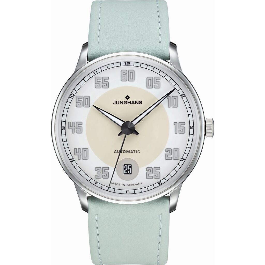 Junghans Meister Driver Automatic Watch | Mint Green Calf Leather Strap 027/4717.00