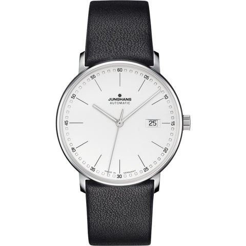 Junghans Max Bill Form A Wrist Watch | Silver-White/Black Calf Leather 027/4730.00