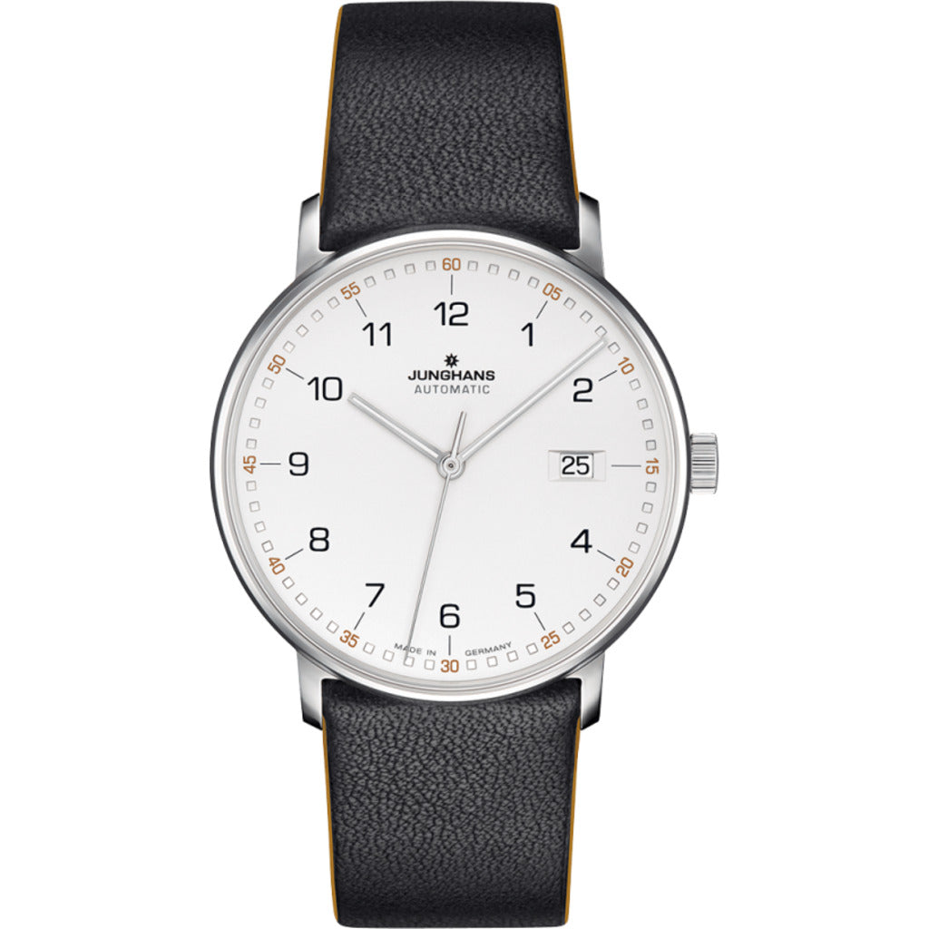 Junghans Max Bill Form A Wrist Watch | White/Black Calf Leather 027/4731.00