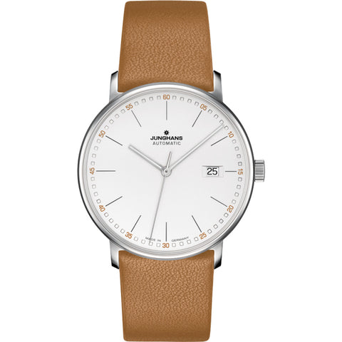 Junghans Max Bill Form A Wrist Watch | White/Tan Calf Leather 027/4734.00