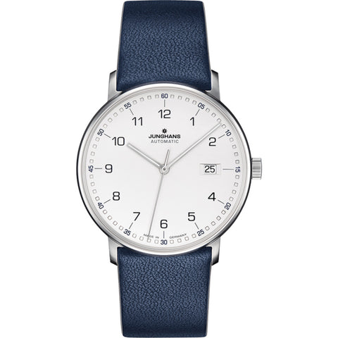 Junghans Max Bill Form A Wrist Watch | White/Blue Calf Leather 027/4735.00