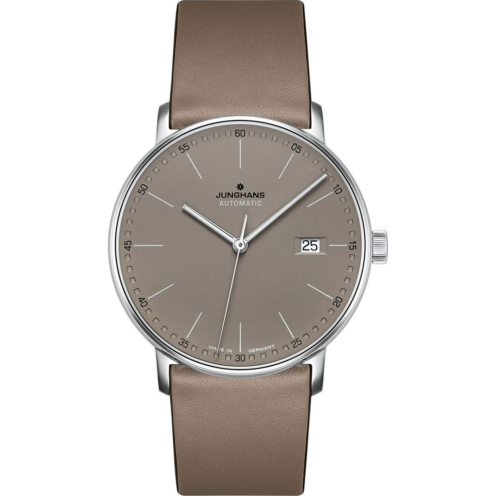 Junghans FORM A Automatic Date Watch | Matt Taupe Leather Strap 027/4832.00