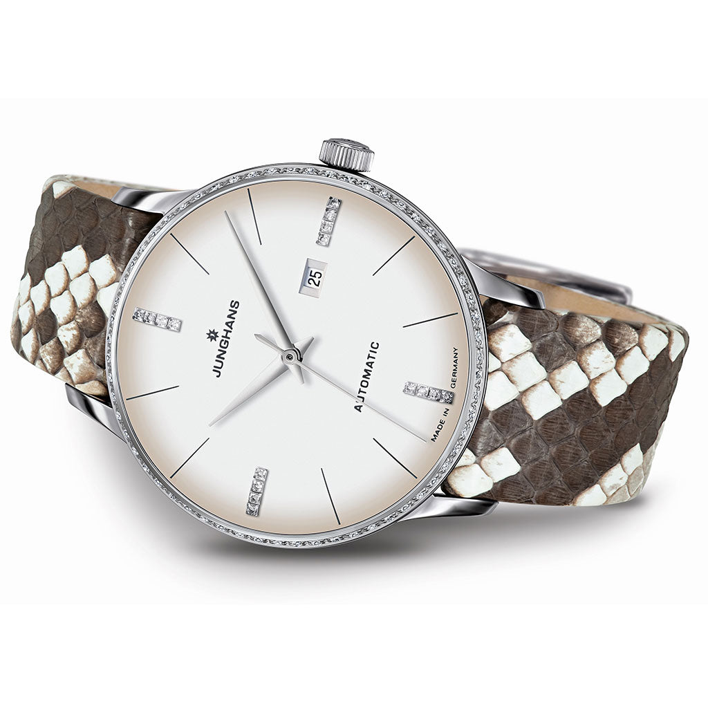 Junghans Meister Ladies Damen Automatic Watch | Python & Lizard Leather Strap 027/4847.00